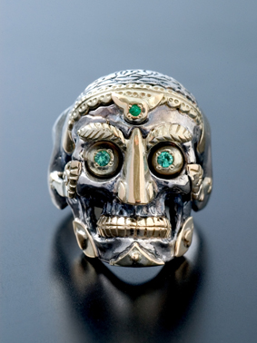 RUDE GALLERY / TIBETAN MONK SKULL RING (SIL×GO)