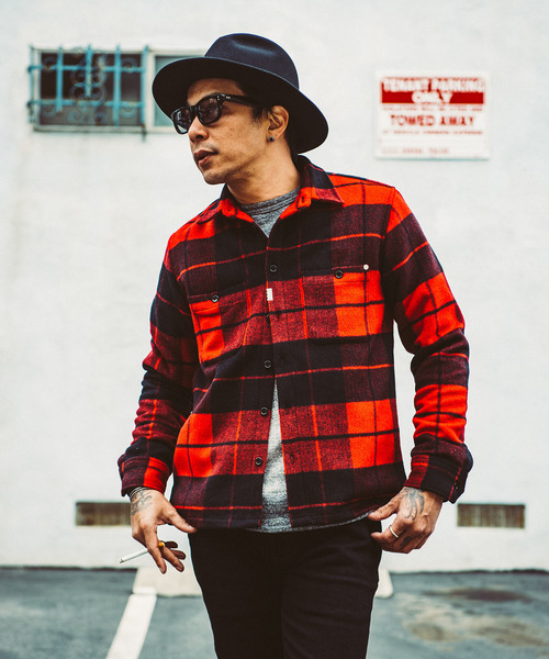 CRIMIE / WOOL CHECK SHIRT (RED)