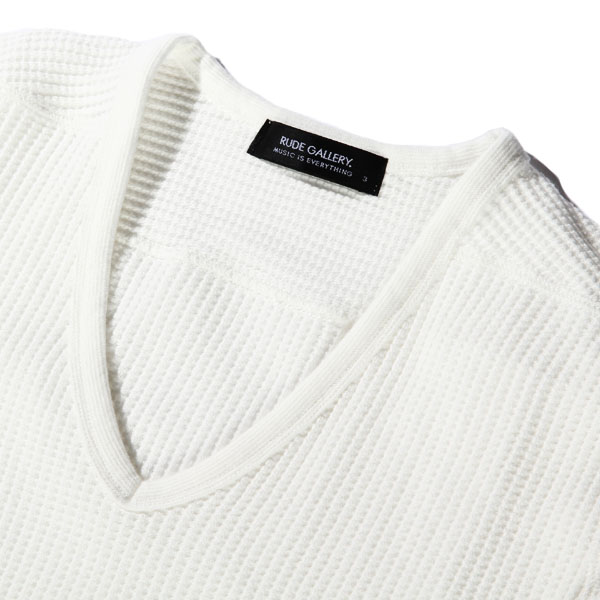 RG / GENERAL UNDERWEAR -V NECK LS WAFFLE (WH)