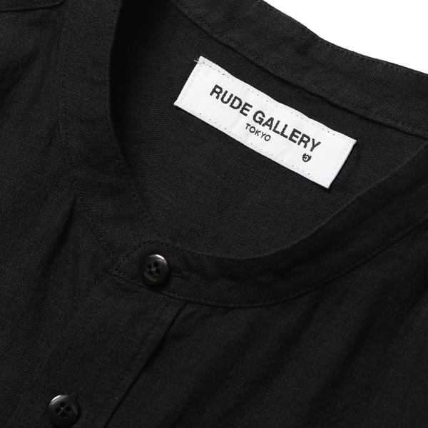 RG / BAND COLLAR F HOLE LONG SHIRT - LINEN (BK)