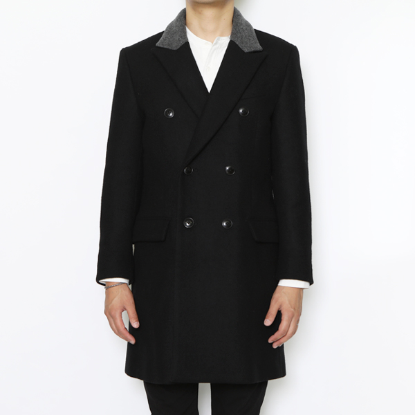RG / DOUBLE BREASTED COAT (BK/GRY)