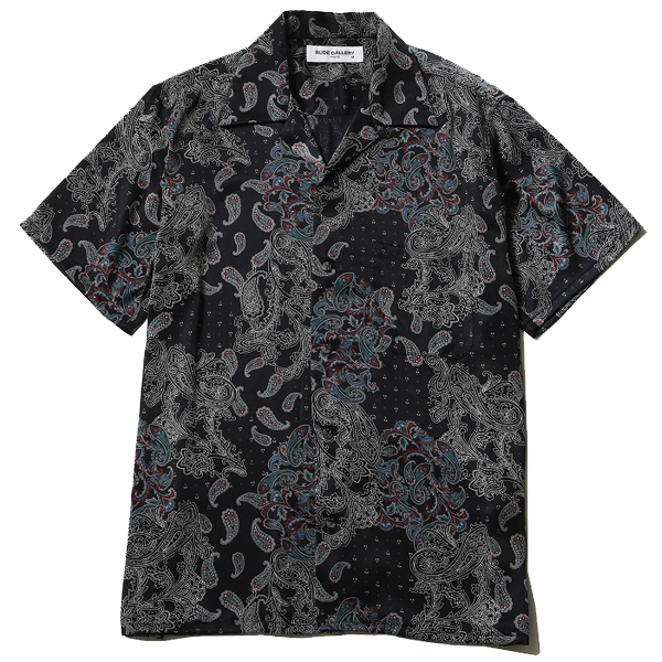 RG / PAISLEY OPEN COLLAR SHIRT (BK)