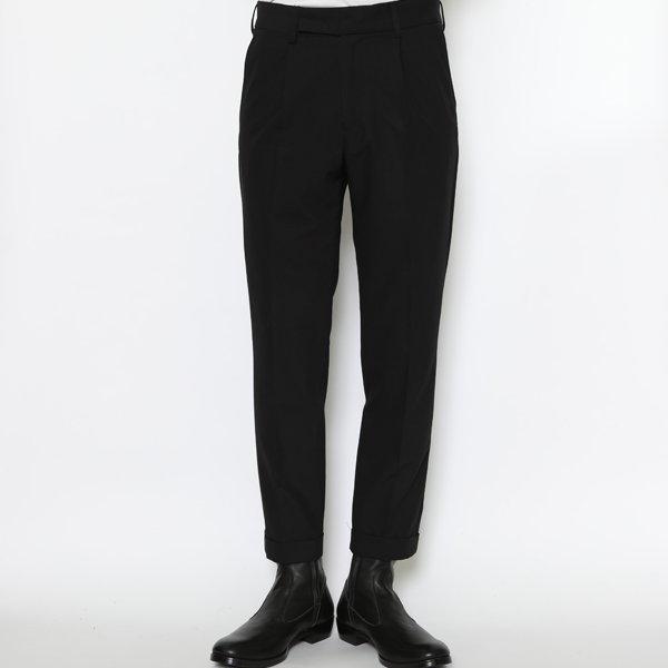 RG / EMBROIDERED TUCK TROUSERS (BK/BK)