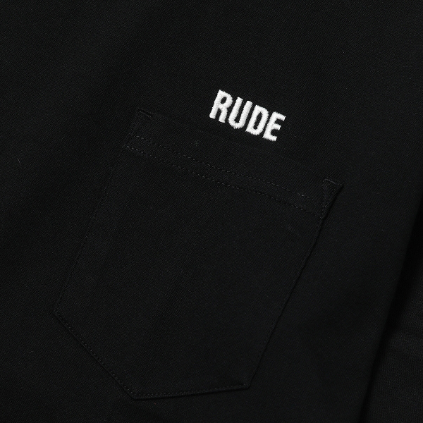 RG / RUDE EMBROIDERED BIG SILHOUTTE PKT TEE (BK)
