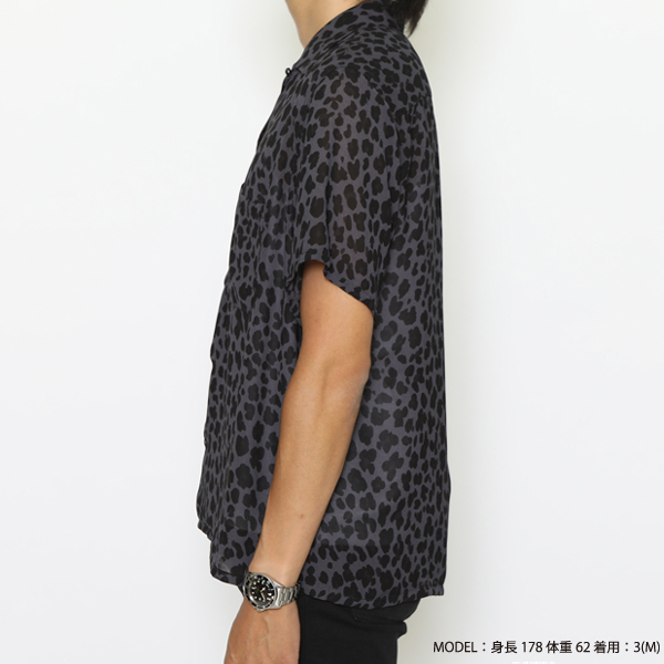 RG / LEOPARD OPEN COLLAR SHIRT (BK)