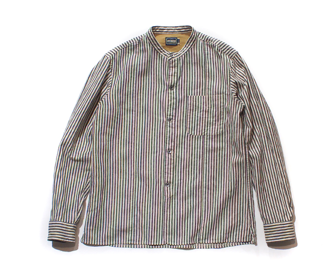 LOST CONTROL /BAND COLLAR STRIPE SHIRTS (BK)