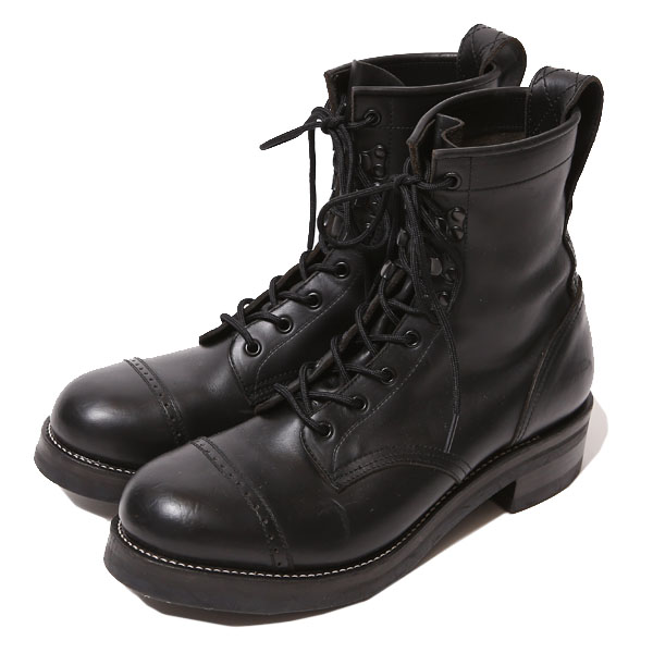 RG BLACK REBEL /REBELS LACE UP BOOTS-PUNCHED CAP TOE