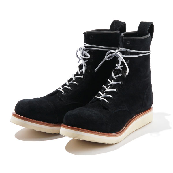 RG BLACK REBEL /REBELS LACE UP BOOTS-CAP TOE,SUEDE