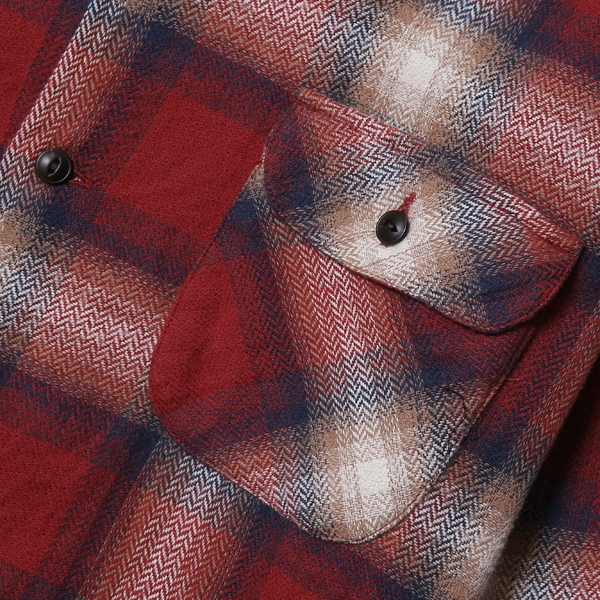 RG BLACK REBEL / OMBRE CHECK OPEN COLLAR SHIRT (RED)