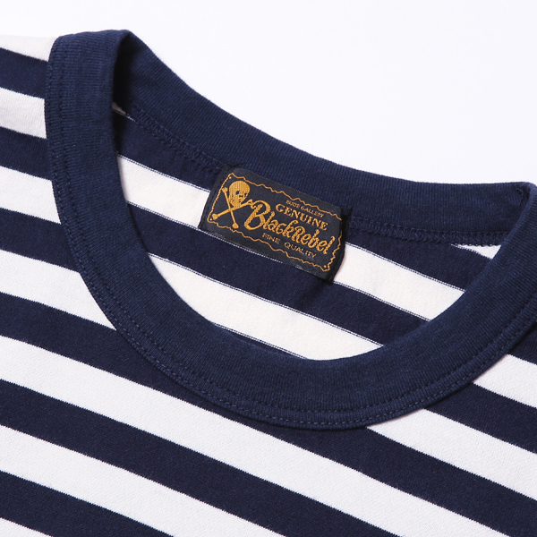 RG BLACK REBEL / DIA STITCH BORDER TEE (NAVY/OFF-WH) - ウインドウを閉じる
