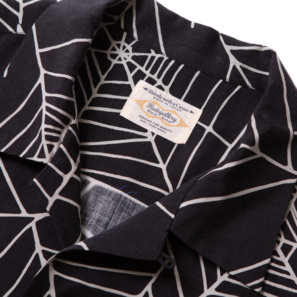 RG BLACK REBEL / SPIDER NET ALOHA SHIRT (BK)