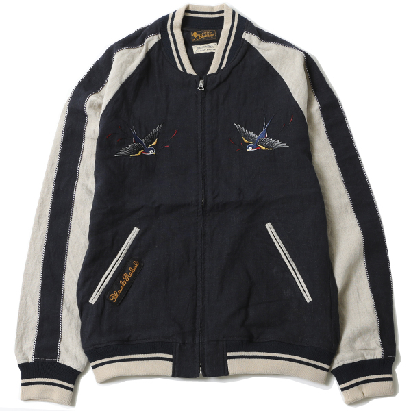 RG BLACK REBEL / SWALLOW LINEN SOUVENIR JACKET (NAVY/BEI)