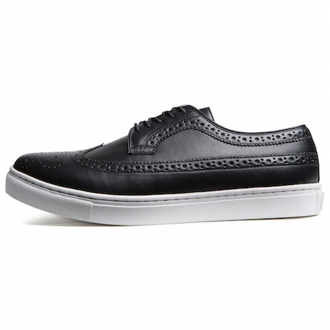 CRIMIE / PU WING TIP LEATHER SNEAKERS (BK/WH)