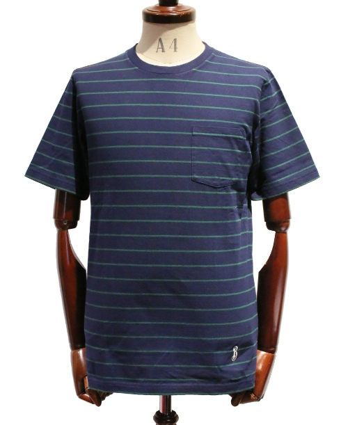 BANKROBBER /STRIPED CREW NECK TEE S/S (NAVY/GREEN)