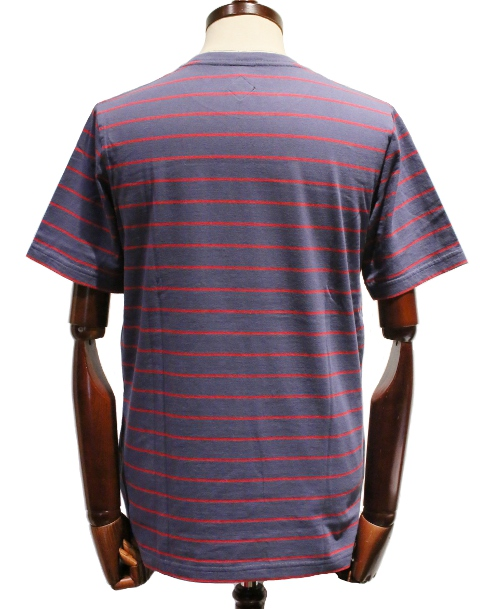 BANKROBBER /STRIPED CREW NECK TEE S/S (BLUE/RED)