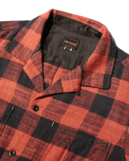 LOST CONTROL / SQUARE POCKET CHECK SHIRTS (RED)