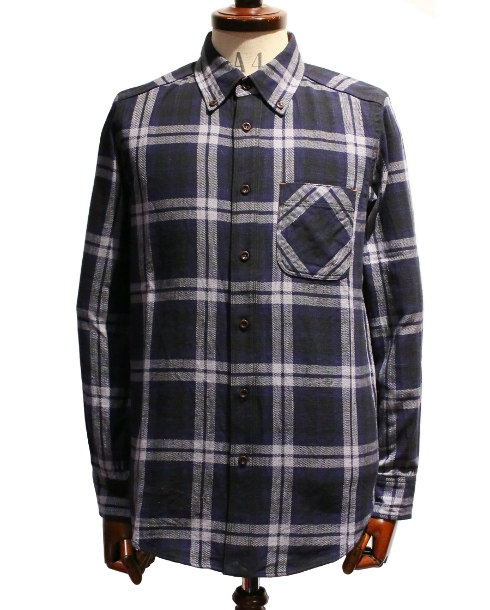 LOST CONTROL / CHECK WORK SHIRTS (DARK BLUE)