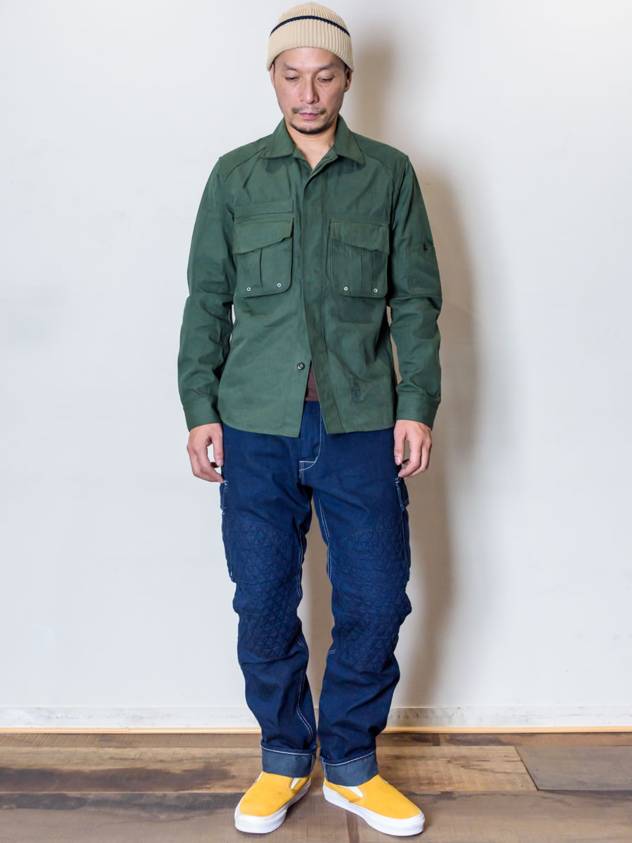 GERUGA / MILITALY WORK SHIRTS(DARK-GREEN)