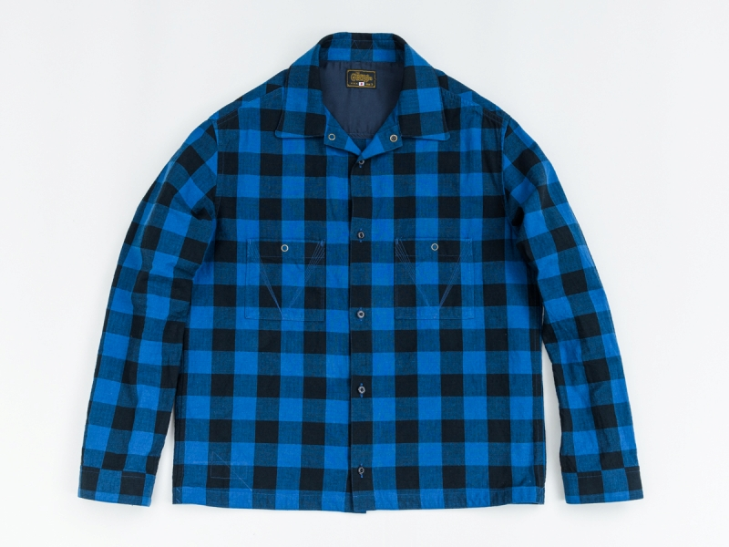 GERUGA / JET BLACK CHECK SHIRTS (BLUE)