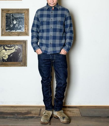 GERUGA / DOUBLE CRUISER SHIRTS (GRY/BLUE)